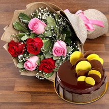 Beautiful Roses Bouquet With Chocolate Fudge Cake: New Arrival Gifts