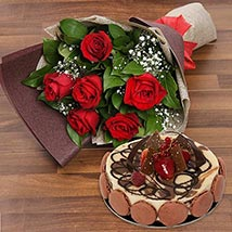 Enchanting Rose Bouquet With Marble Cake: New Arrival Gifts in Dubai