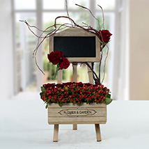 Enchanting Rose N Hypericum Arrangement With Message Board: Personalised Gifts