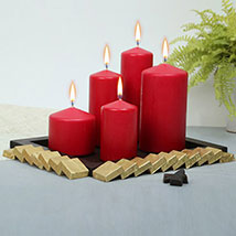 Red Candles and Assorted Chocolates Combo: New Year Gifts