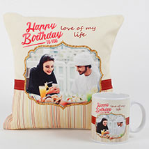 Romantic Personalized Mug N Cushion: Personalised Gifts