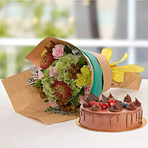 Royal Flower Bouquet With Chocolate Fudge Cake: New Arrival Gifts