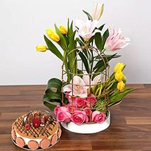 Sentimental Blooms Combo: Flowers & Cakes
